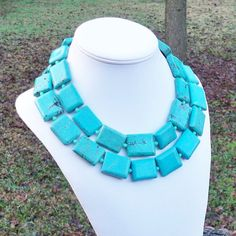 Chaela  Extra Long Chunky Turquoise Rectangles and by Tessyla, $285.00