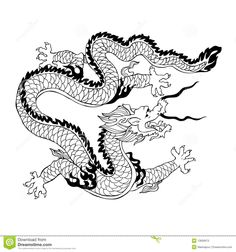 Free Coloring Page Adult Dragon Chinois Simple Illustration Of A