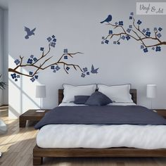 Decorative Vinyl Branches, Flowers and Birds Wall Painting Decor, Wall Decor, Home Bedroom, Bedroom Decor, Bedroom Wall Designs, Bedroom Colors, Decoration, Interior Design, Home Decor