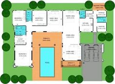 u shaped house plans with pool inspiring u shaped house plans with pool images ideas house design l shaped house plans with courtyard pool U Shaped House Plans, U Shaped Houses, Pool House Plans, Courtyard House Plans, Pool House Designs, Swimming Pool Designs, Home Design, Design Ideas, Courtyard Apartments