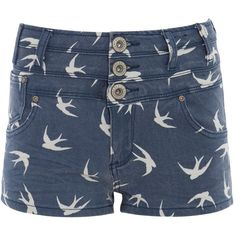 Parisian Blue Swallow Print High Waisted Denim Shorts ($35) ❤ liked on Polyvore