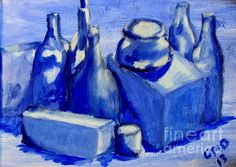 Study of Boxes And Bottles Greg Mason Burns Painting - Oil On Paper