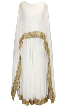 White shimmer embellished border cape gown/anarkali available only at Pernia's Pop Up Shop..#perniaspopupshop #pratyushagarimella #newcollection #festive #designer #clothing