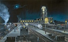 Midnight in Buffalo  On a quiet, moonlit night, New York Central's premier passenger train, The 20th Century Limited, takes center stage both eastbound and westbound at a very active Buffalo Central Terminal in the summer of 1948.  by artist Larry Fisher.