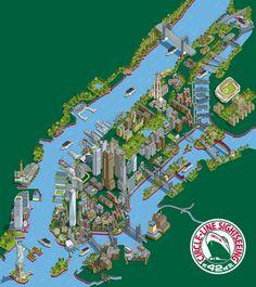 Circle Line 101 New York Sights Map Illustration