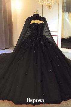 Pretty Prom Dresses, Black Wedding Dresses, Elegant Dresses, Black Quinceanera Dresses, Formal Dresses, Prom Dresses Black Long, Fantasy Wedding Dresses, Elegant Ball Gowns, Ball Gowns Evening