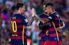 Messi (left) congratulated Neymar (right) after the No 11 scored the Blaugrana's opener in the 27th minute