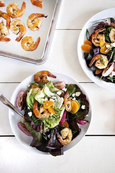 Mandarin Spring Salad with Pan-Seared Shrimp Carly Diaz Photography Healthy Dishes, Healthy Salads, Healthy Eating, Pistachio Milk, Mandarin Orange Salad, Beet Hummus, Spring Salad, Hot Fudge, Perfect Food