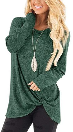 Front Knot Irregular Long T-Shirt Winter Outfits Women c4c726876