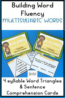 Decoding Multisyllabic Words (4 syllables) with Word Triangles and Sentence Comprehension task cards! Perfect for quick word work during guided reading and for literacy centers! #phonics #fluency #literacycenters #guidedreading #readinginterventions #RTI #wordwork #backtoschool first grade, second grade, third grade, fourth grade, fifth grade