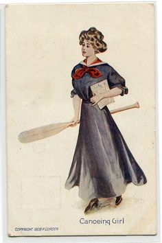 Canoeing Girl Artist Signed P Gordon 1910c postcard