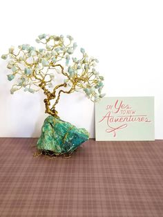 Amazonite Gem Tree, Chrysocolla Rock Base, Gold Wire Tree, Teal Home Decor, Wire Tree Sculpture, Gift for Her, Wife Gift, Gift Ideas by SpiritGemDesigns on Etsy