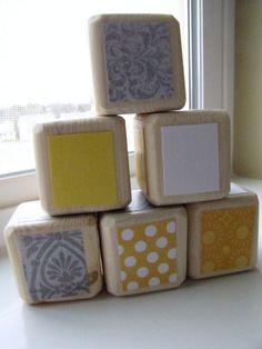 Baby Shower Decoration Yellow and Gray Unisex Baby Blocks. $20.00, via Etsy.