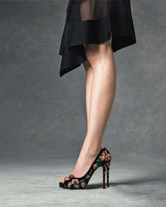 Christian Louboutin Folklo Embroidered Velvet Red Sole Pump, Black/Multi $1,795.00