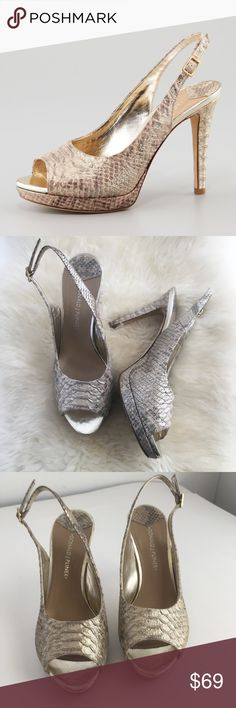 Donald Pliner Allie heels Snakeskin print gold A fantastic pair of Donald Pliner heels in a gold satiny metallic snake skin print! These are absolutely gorgeous and would look amazing for an upcoming holiday party! Good used condition with light signs of use, please review photos and use as part of the description. Marked size 9M. Check out my closet for more Pliners and other high end shoes! ❤️ Donald J. Pliner Shoes Heels