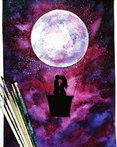 Fabulous Silhouette Painting by Danielle Foye. Galaxy Painting, Galaxy Art, Art Plastic, Silhouette Painting, Spray Paint Art, Wow Art, Painting & Drawing, Moon Painting, Art Inspo