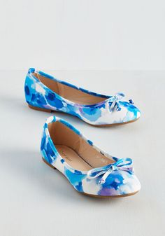 Catch You On the Skip Side Flat in Cool. You just cant help it - every step in these watercolor-inspired flats is a buoyant bounce! #blue #modcloth