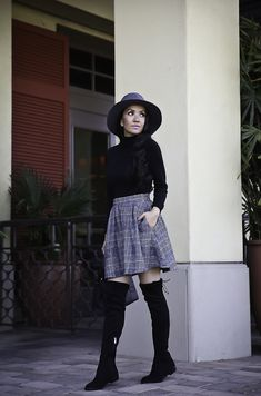 How to wear a high waisted skirt - plaid skirt fd360d9b050