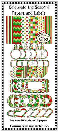 Celebrate the Season Papers and Labels  $  (Freebie in preview!) Teachers Notebok