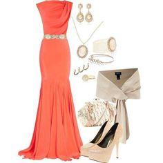 Tangerine floor length gown