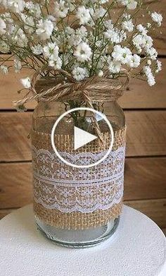 These are 12 ivory lace mason jar sleeves. The burlap and lace is already adhered together. Burlap Mason Jars, Mason Jar Crafts, Mason Jar Diy, Diy Décoration, Easy Diy, Simple Diy, Decoration Communion, Wedding Centerpieces Mason Jars, Burlap Centerpieces