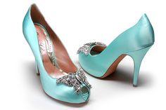 Farfalla Light Tiffany Blue Satin Platform Heels by Aruna Seth (www.arunaseth.com)