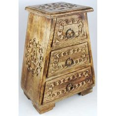 Celtic Wooden Drawer Chest    Grace your altar, kitchen, or night stand with this wonderful wooden cupboard. Put together in a design that leaves its top narrower than its base, the cupboard features three sliding drawers sized to contain your favorite altar tools, jewelry, ritual components and herbs........ To see more click here  http://www.pagan-creations.com/celtic-wooden-drawer-chest.html?path=111_112  Price...$37.00