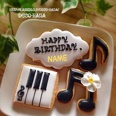 Fondant Cookies, Iced Cookies, Fun Cookies, Sugar Cookies, Cupcakes, Bolo Musical, Music Cookies, Music Themed Cakes, Piano Cakes