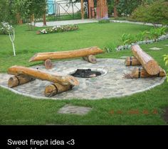 Fire pit seating. 1) Husband chops down trees for clearing 2) Husband repurposes felled trees for seating