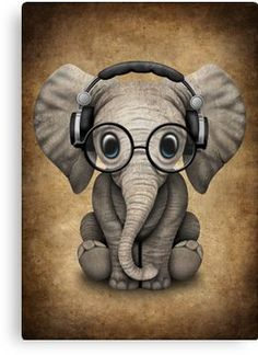 'Cute Baby Elephant Dj Wearing Headphones and Glasses' Canvas Print by jeff bartels – Zehra - Baby Animals Cute Elephant Drawing, Baby Animal Drawings, Elephant Artwork, Cute Drawings, Elephant Drawings, Funny Elephant, Cute Baby Elephant, Cute Baby Animals, Baby Elephants