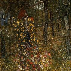 Gustav Klimt 'Bauerngarten mit Kruzifix' (Cottage Garden with Crucifix) 1911 Oil on canvas 110 x 110 cm Art Nouveau, Art Klimt, Franz Josef I, Garden Painting, Oil Painting Reproductions, Oeuvre D'art, Les Oeuvres, Landscape Paintings, Landscapes