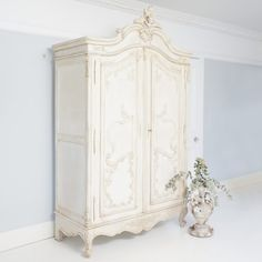 Delphine Distressed Shabby Chic Armoire | French Armoire. French Bedroom Company.