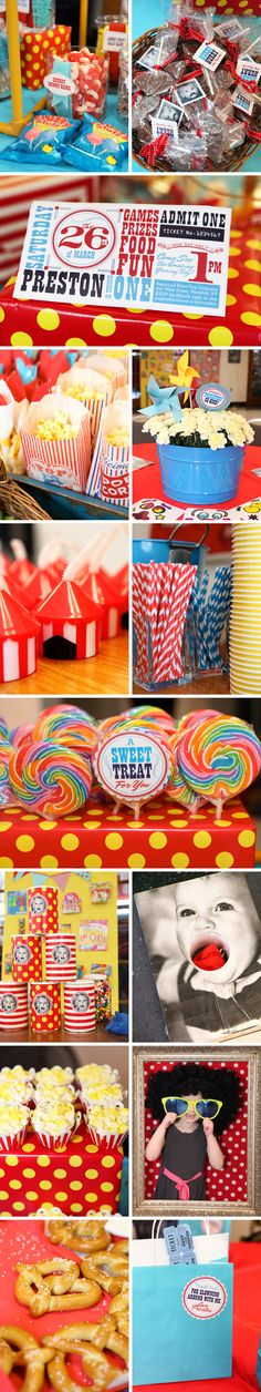 Carnival themed birthday party, these are some really cute ideas!