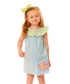 Loving this Aqua Seersucker Fish Flutter Dress - Infant, Toddler & Girls on #zulily! #zulilyfinds