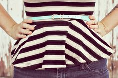 Striped Peplum Top  / mint belt!