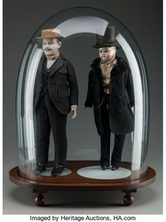 Victorian Gentleman dolls, circa 18 inches high cm) (dolls without base and dust dome). Both appear to be bisque, painted eyes on the left, glass eyes on the right doll. From the estate of Richard Wright. Victorian Gentleman, Richard Wright, Old Dolls, Glass Domes, Art Decor, Carving, Base, Wood, Antique Dolls