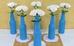 Kit Centro de Mesa Festa Garrafa Azul no Elo7 | Bebeca Artesanato (8989D3) Thing 1, Candle Holders, Vase, Candles, Bottle, Azul Tiffany, Home Decor, Lima, Yellow Centerpieces