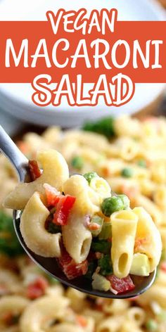 Vegan Macaroni Salad is made like a classic Southern style recipe. It's creamy, easy and will only take 15 minutes to make. You'll be reminded of your favorite old fashioned macaroni salad. #veganmacaronisalad #oldfashionedmacaronisalad #creamymacaronisaladdressing #easymacaronisalad #macaronisaladrecipe Yummy Pasta Recipes, Salad Recipes, Vegetarian Recipes, Dinner Recipes, Easy Recipes, Yummy Food, Creamy Macaroni Salad, Vegan Comfort Food, Vegan Food