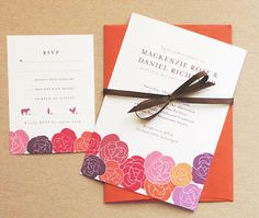 Wedding Invitation  Rose Red Pink Purple Orange by jessicawood, $262.50