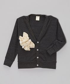 Look at this #zulilyfind! Charcoal & Cream Ruffle Cardigan - Toddler & Girls by schnarbles #zulilyfinds