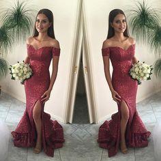 Shinning Off Shoulder Sequin Mermaid Side Slit Cheap Long Prom Dresses, WG297
