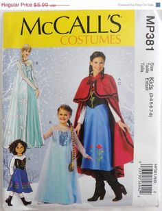 Save 10% MCCALL'S PATTERN 381 Frozen  Winter Princess Costumes Anna and Elsa Kids Sizes 3-14