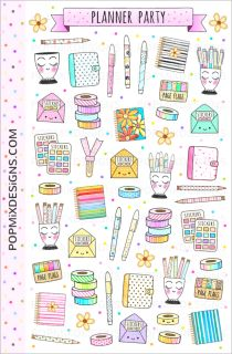 "Cute stickers of planners, washi, page flags, pens, coffee and donuts!  Details:  matte sticker paper sheet is approx. 4.5"" x 7"" (11.7cm x 17.7cm)"