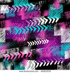 Abstract seamless grunge pattern for guys. Urban style background with trace of tire, lightning, dots and spray elements. Drive and speed modern creative wallpaper. Grunge neon texture background.
