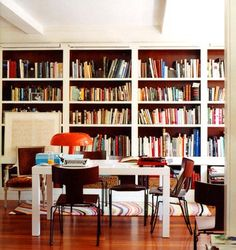 Built in bookcase, parsons table.
