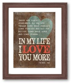 In my life Beatles lyrics art print music art by DIGIArtPrints, $10.00