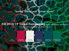 Autumn Winter 2018/2019trendforecasting isA TREND/COLORGuide that offer seasonal inspiration & key color direction for Women/Men's Fashion, Sport& Intimate Apparel