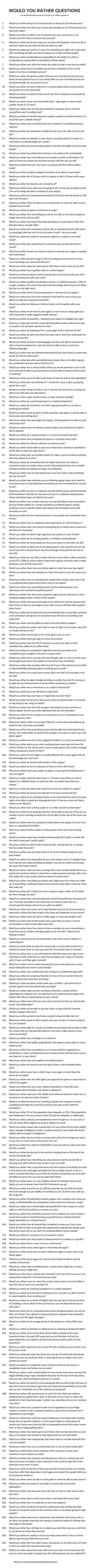 A seriously long list of would you rather questions!
