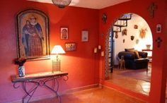 Red And White Walls Mexican House Interior , Mexican House Interior In Home Designs And Decor Category
