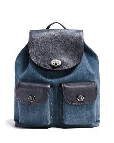 COACH Turnlock Backpack in Denim Colorblock | Bloomingdale's